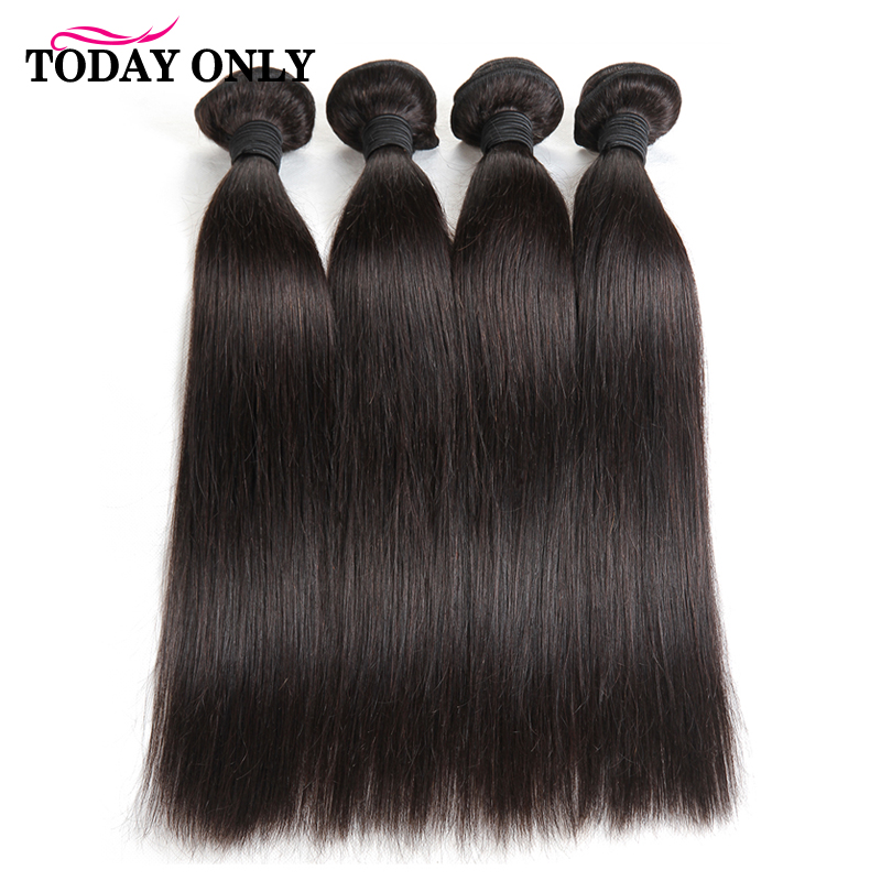 TODAY ONLY 4 Bundles Brazilian Straight <font><b>Hair</b></font> Bundles Brazilian <font><b>Hair</b></font> Weave Bundles Remy Human <font><b>Hair</b></font> Bundles 100g Extensions 8-26'' image