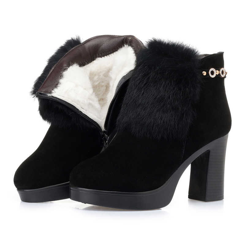 AIYUQI/женские ботильоны; черные женские ботинки из натуральной кожи на толстом каблуке и платформе; модные зимние женские ботинки со стразами на высоком каблуке