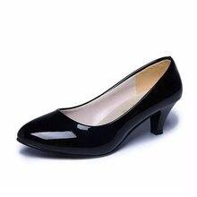 Couro de patente sapatos de salto baixo mulheres sapatos profissionais senhoras rasa boca trabalho sapatos elegantes senhoras sapatos de escritório