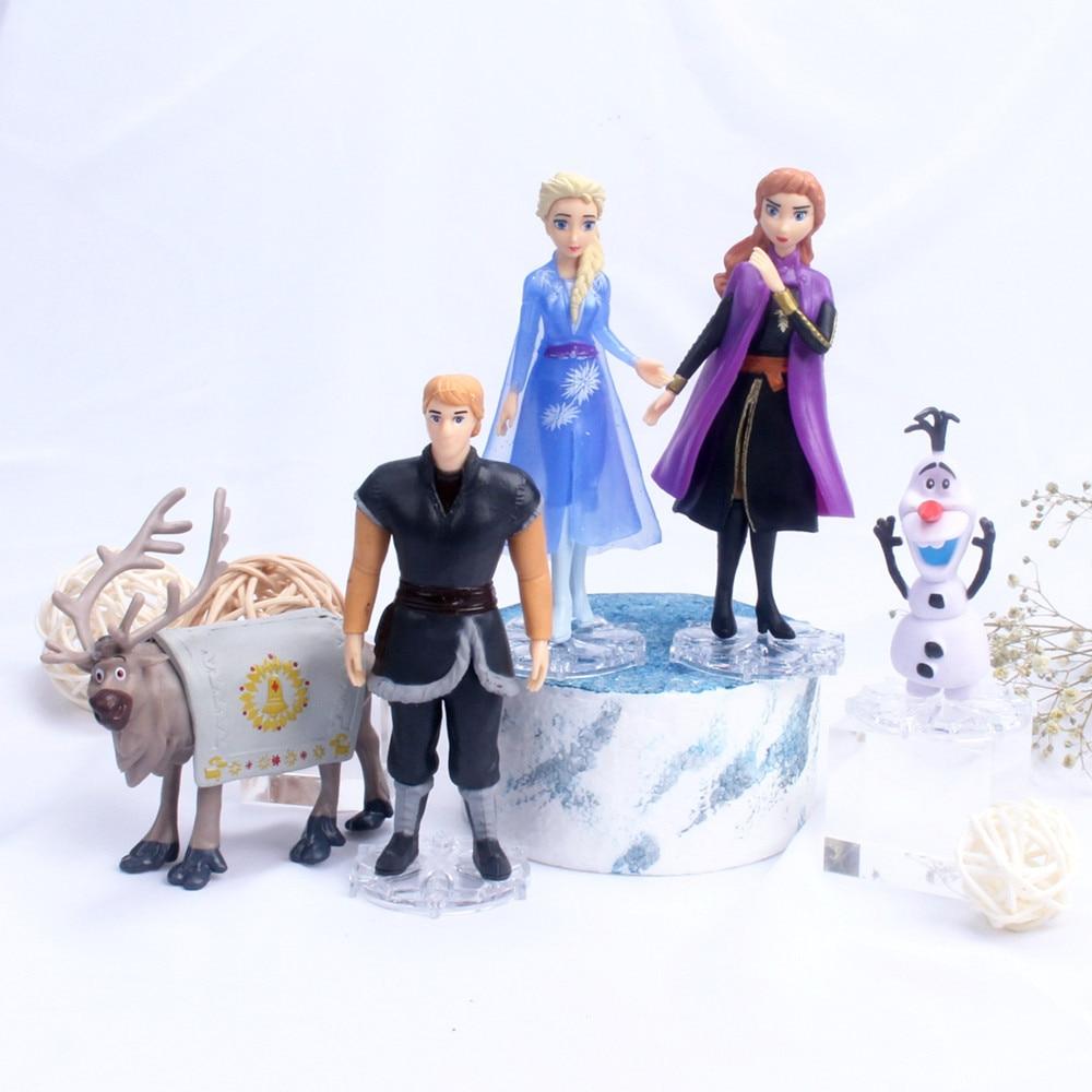 5/6 pçs disney congelado 2 neve rainha elsa anna pvc figura de ação olaf kristoff sven anime bonecas figurinhas crianças brinquedo presentes