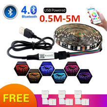 USB LED Strip RGB 5050 50CM 1M 2M Bluetooth APP Control/3Key Controller Ringan dan Fleksibel TV Latar Belakang Lampu RGB LED Tape(China)