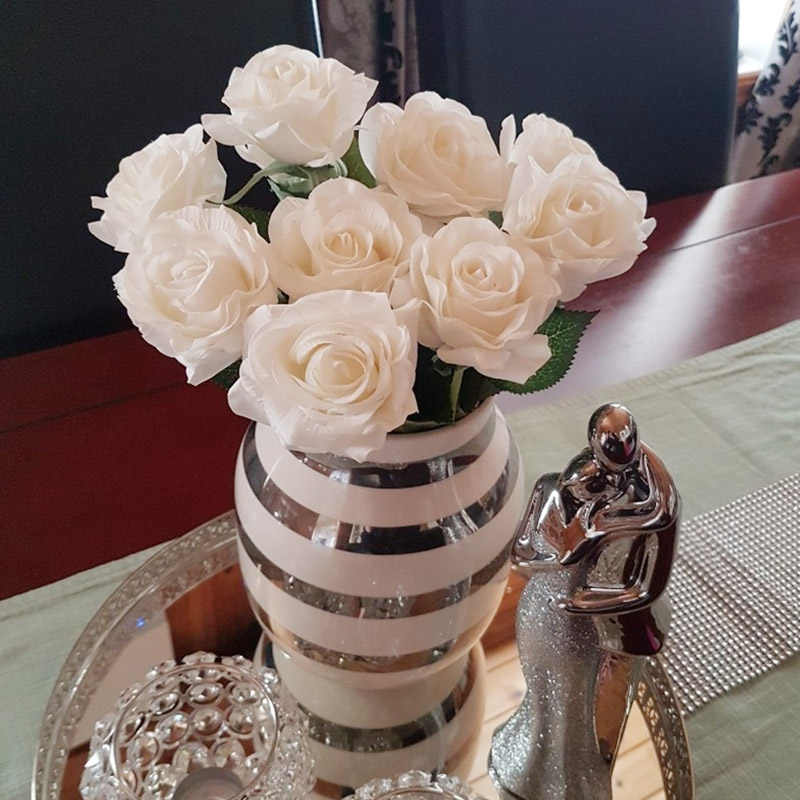 5pcs מגע אמיתי עלה פרחי פלנל פרח זר יחיד ראש ורדים מלאכותי חבורת פרחים לחתונה קישוט בית תפאורה