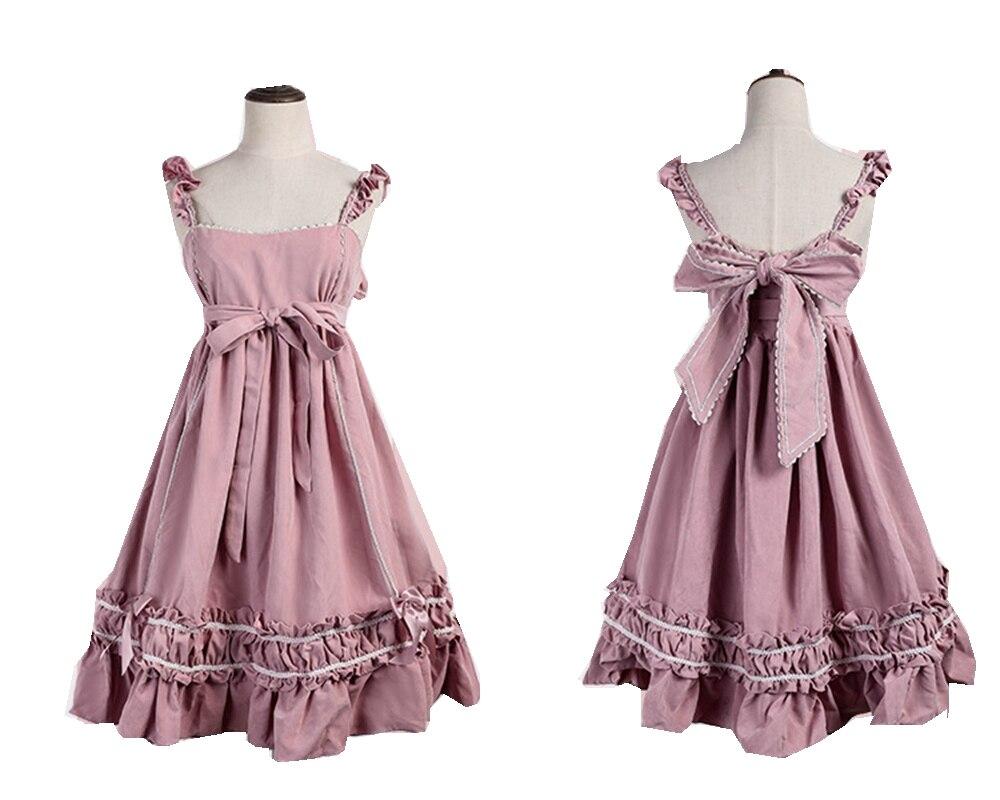 Femmes Lolita JSK robe rouge grand ourlet bulle jarretelle sans manches une-pièce robe