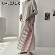 GALCAUR Patchwork Sweatshirt Dress For Women O Neck Half Sleeve Hit Color Oversized Pleated Dresses Female 2020 New Clothes Tide