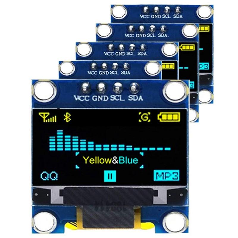 5PCS 0.96 OLED Display Module IIC 128 x 64 Pixel 12864 OLED Yellow Blue I2C 0.96Inch OLED Display IIC Serial