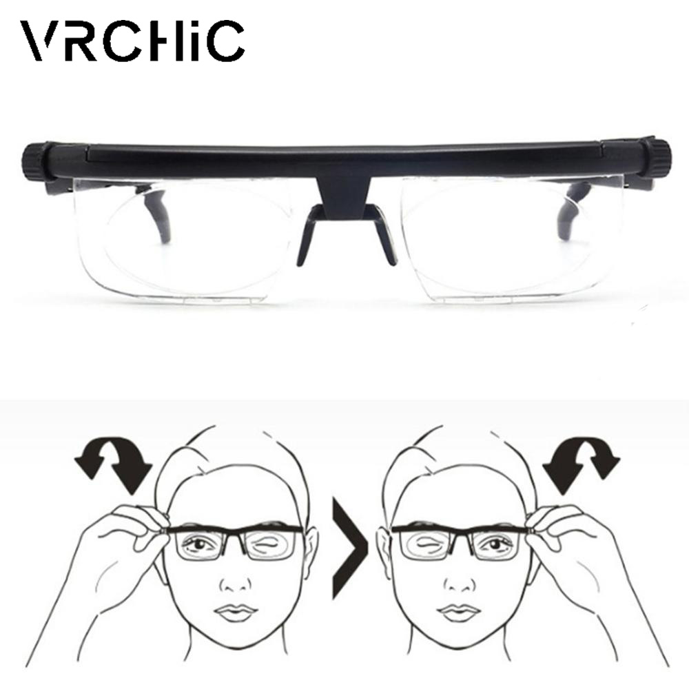 Adjustable Lens Focus Reading Myopia Glasses Men Women Variable Vision Strength Glasses Correction Reading Myopia Glasses