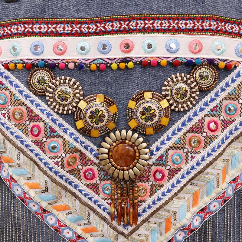 ブルー部族修飾語デニムジャケット女性コート自由奔放に生きる 2020 秋ボヘミアンジプシー刺繍ヴィンテージジャケットチャケータ生き抜く