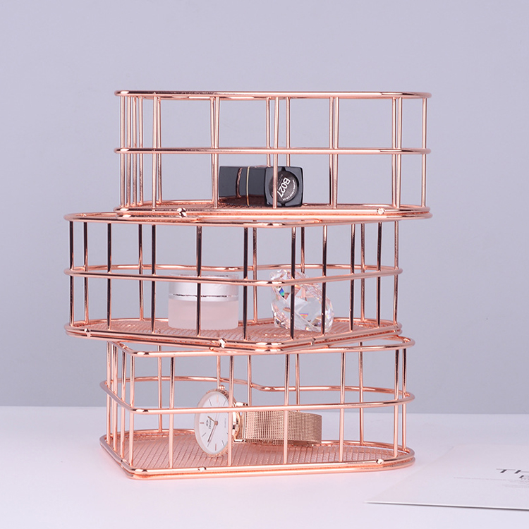 Love Storage Basket Receives Box Rose Gold Jewelry Box Adornment Room Office Desk Decor Tabletop Storage Box Home Decoration