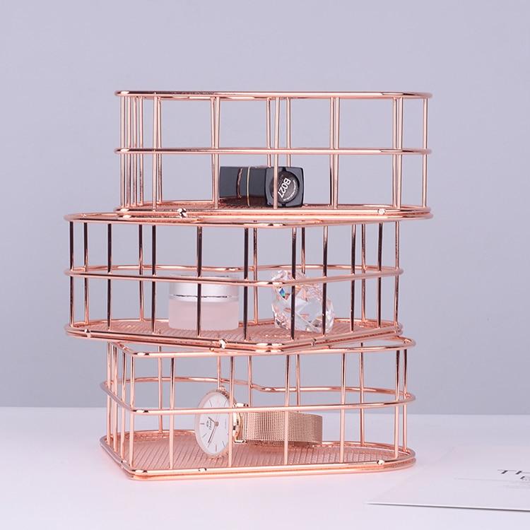 Love Storage Basket Receives Box Rose Gold Jewelry Box Adornment Room Office Desk Decor Tabletop Storage Box Home Decoration