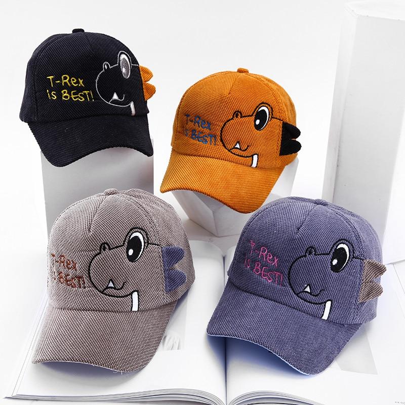 Милые детские кепки с рисунком динозавра, бейсбольная кепка для мальчиков, Детская Вельветовая Регулируемая Солнцезащитная шляпа на лето и...