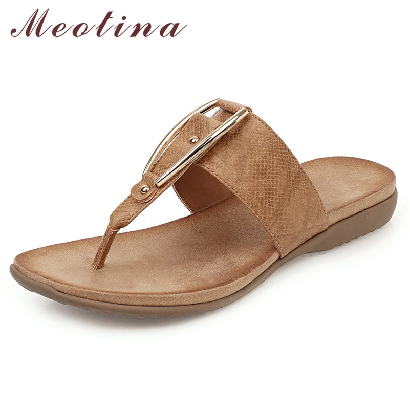 Meotina Summer Slippers Women Shoes Metal Decoration Flat Beach Shoes Fashion Flip Flops Slides Lady Sandals New Big Size 35-43
