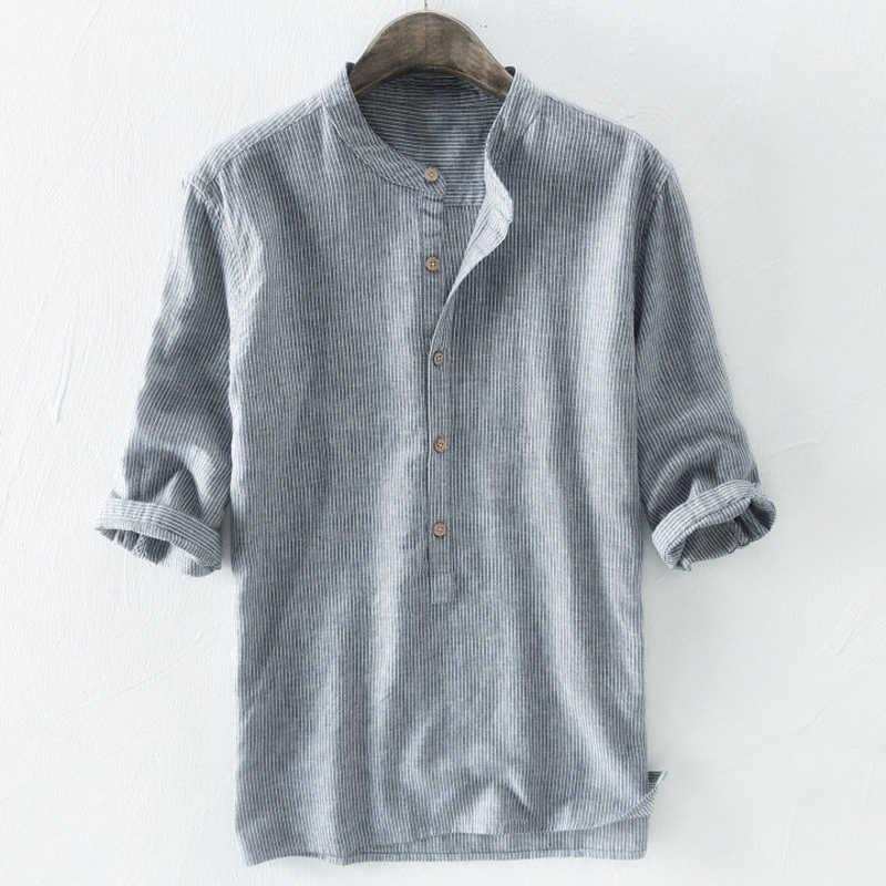 2020 캐주얼 패션 망 셔츠 여름 스타일 스트라이프 인쇄 남자 드레스 셔츠 중간 슬리브 여름 스타일 복장 셔츠 남자 5XL A488