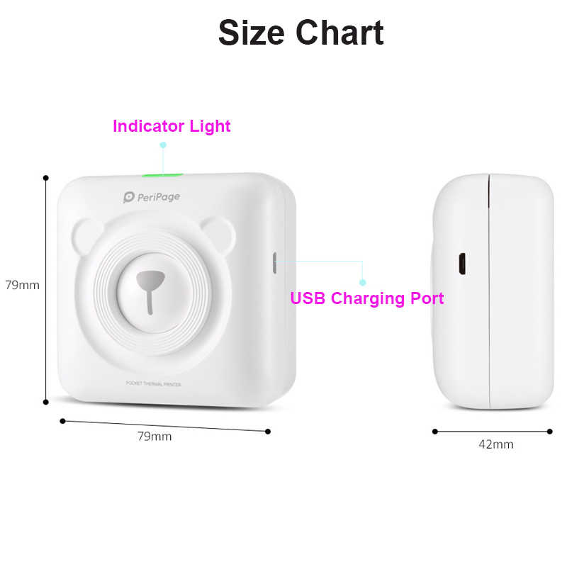 PeriPage صغيرة طابعة حرارية محمولة صور جيب طابعة حرارية 58 مللي متر الطباعة سماعة لاسلكية تعمل بالبلوتوث أندرويد IOS الطابعات
