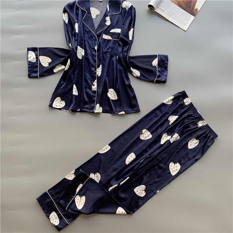 נשים נוח קרח שלג משי פיג 'מה סט ילדה מודפס ארוך שרוול הלבשת סט נשים כתנות הלילה סטים ארוך מכנסיים