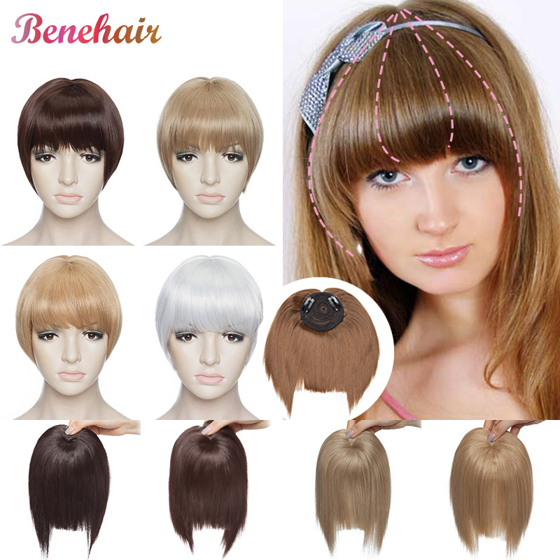 BENEHAIR Fake Bangs Topper Hair Bangs Clip In Hair Bangs Blunt Bangs Synthetic Hair Extension Hair Hairpiece For Women Toppee
