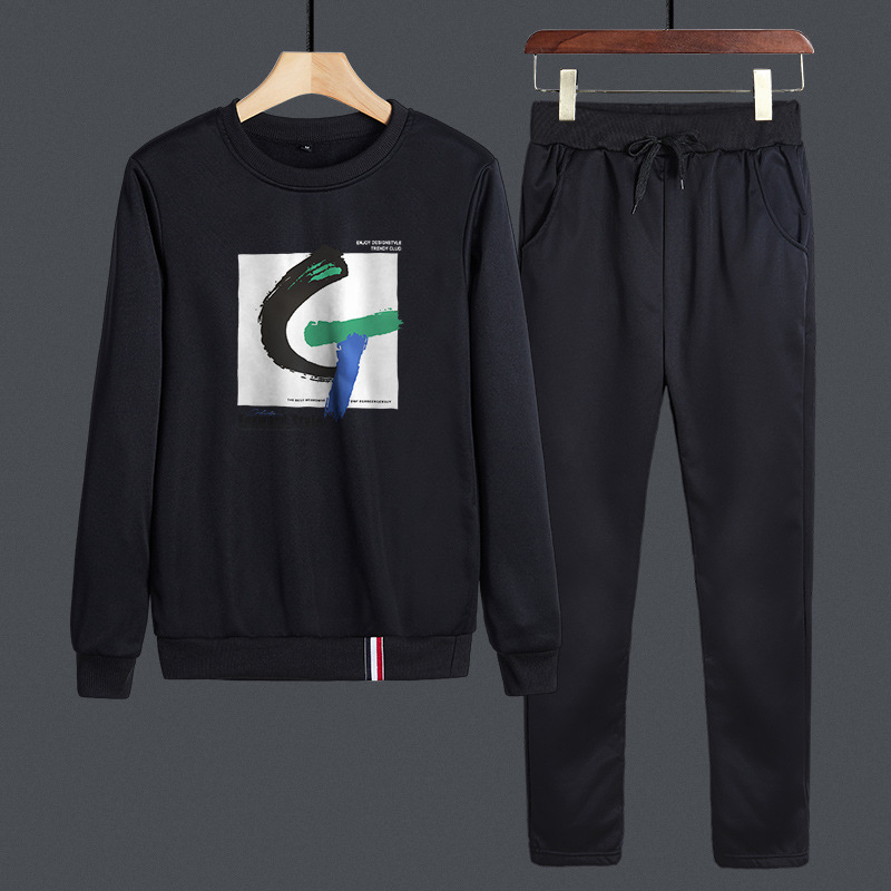 Spring And Autumn Fashion Korean-style Simple Lettered G Young MEN'S FASHION Casual Round Neckline T-shirt Students Hoodie Pants