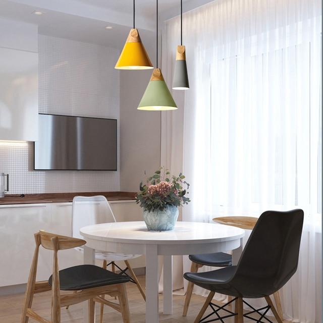 Фото nordic led e27 алюминиевые деревянные подвесные светильники