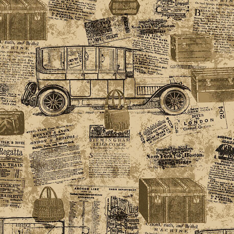 Retro Nostalgic English Lettered Wallpaper Industrial-Style Loft Bar Coffee Shop Restaurant Cool Newspaper Carriage Wallpaper
