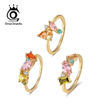 ORSA JEWELS Delicate 925 Silver Wedding Rings for Female with Multi Color Big Crystal Zircon Jewelry Party Gift Wholesale OSR208