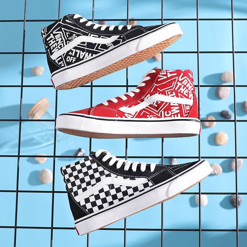 Unisex Sports Skate Checkerboard Sneakers High Top Canvas Shoes For Men Women Sk8-hi Black White Skateboarding Shoes Graffiti