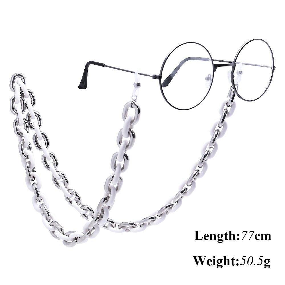 Acrylic Silver White Glasses Chain For Women Sunglasses Holder Eyeglasses Lanyards Rope Neck Strap Eyewear Glasses Accessories