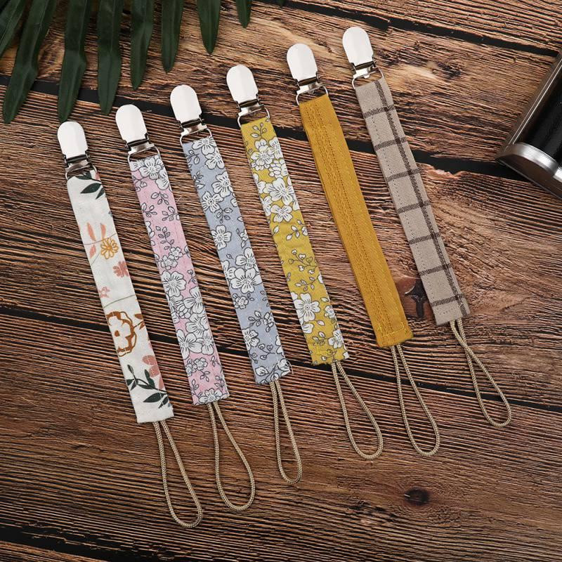 Multi-color Baby Pacifier Clip Chain Cotton Linen Holder Pacifier Soother Clips Leash Belt Nipple Holder For Infant