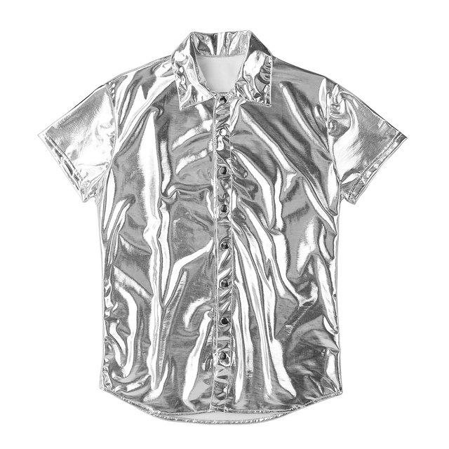 iiniim Mens Fashion Sexy Clubwear Patent Leather Shirt Undershirt for Male Costumes Evening Party Tops Streetwear Male Clothing 6