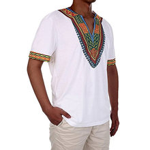 African Clothing Time-limited Rushed Polyester 2019 Folk Style Fashion Icon V Collar Shirt Blouse T-shirt African Men Clothing(China)