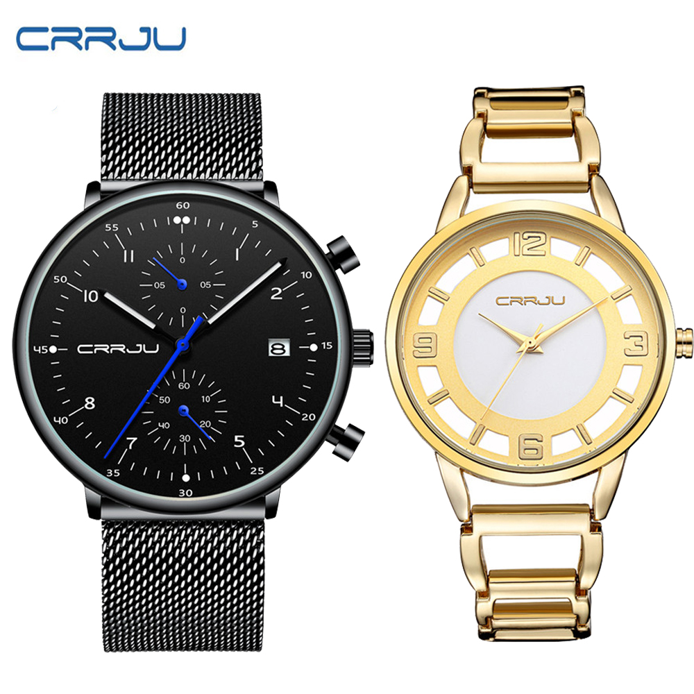 CRRJU Luxury Quartz Lovers Watches Fahsion Men And Women Calendar Week Steel Mesh Quartz Hodinky Reloj Mujer Hombre Couple Watch