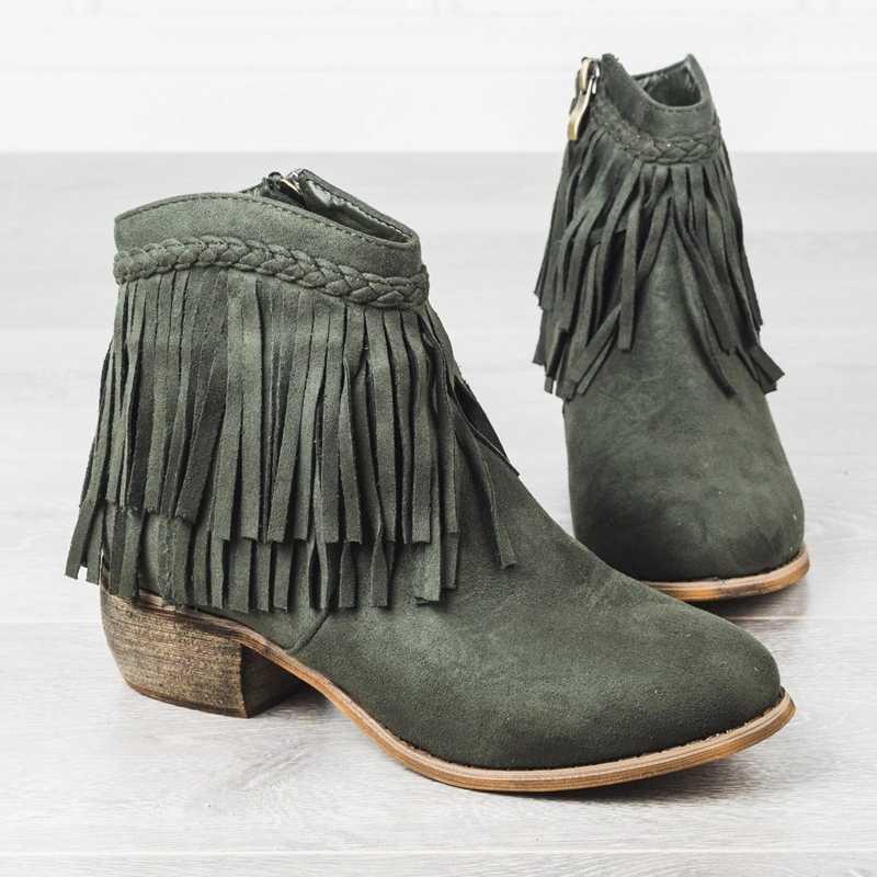 LOOZYKIT Kadın Saçak yarım çizmeler püskül Retro Katı Süet Düşük Topuk Kadın Sonbahar Fermuar Rahat Patik Ayakkabı Bayanlar Artı Boyutu
