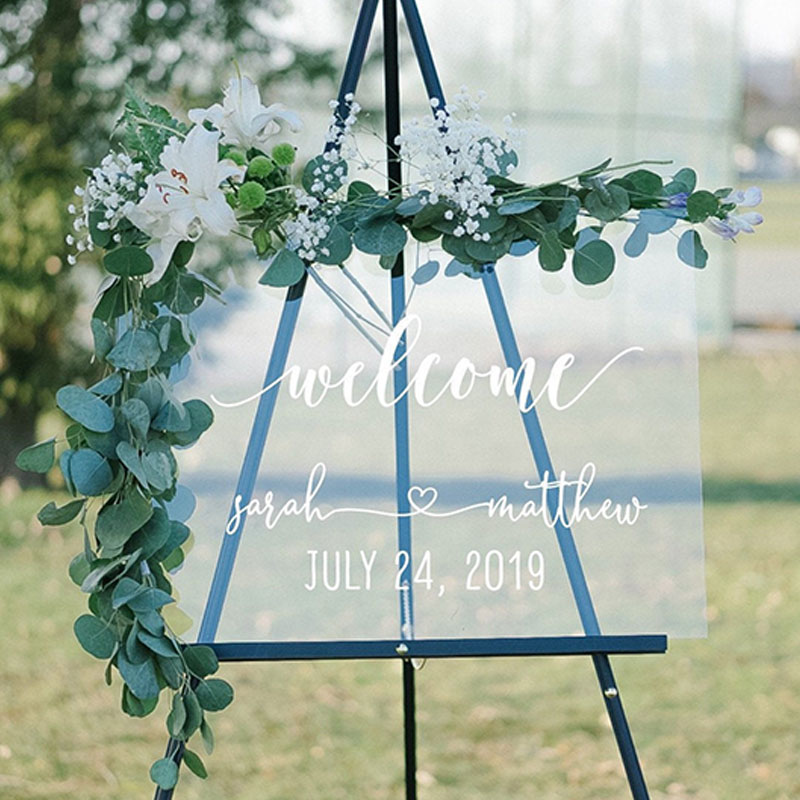 Personalized Wedding Welcome Sign Clear Acrylic Modern Wedding Sign Wedding Board Welcome Sign Acrylic Welcome Wedding Signs