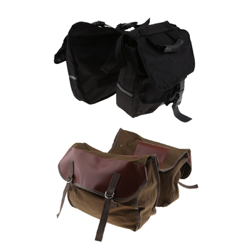 Durable Motorcycle Saddlebags Panniers Rear Seat Carrier Hand Bag Kit Black & Brown