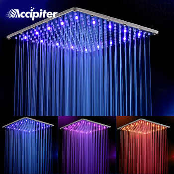 16 Inch 40cm * 40cm Water Powered Rain Led Shower Head Without Shower Arm.Bathroom 3 Colors Led Showerhead. Chuveiro Led. - DISCOUNT ITEM  30 OFF Home Improvement