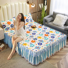 3pcs Set Floral Printing Bedspread King Queen Twin Size Thicken Sanding Soft Bed Skirt 1pc Bed Skirt + 2pcs Pillowcase