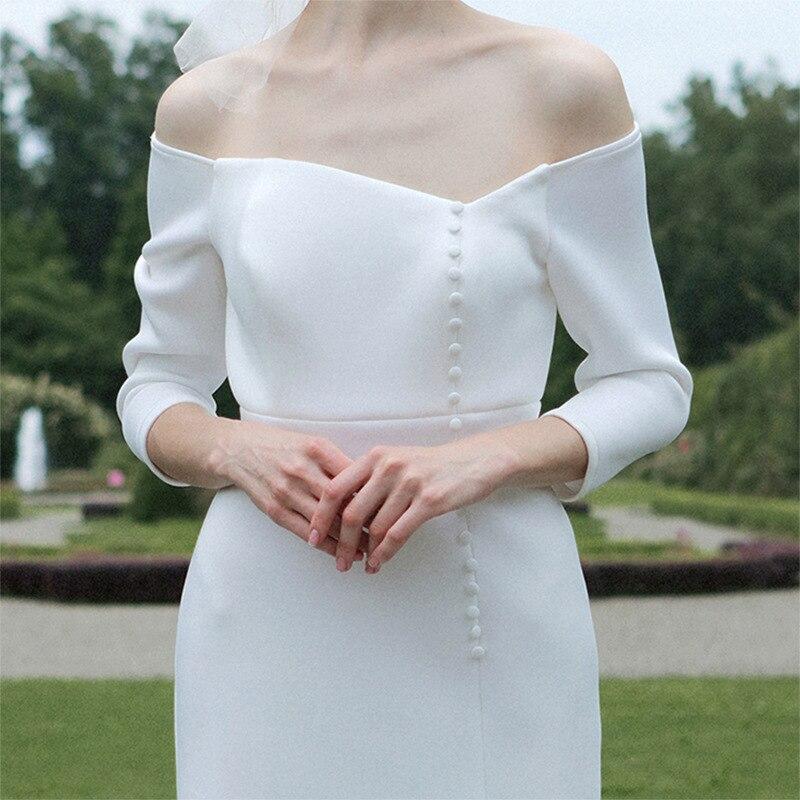 tailor shop custom made light wedding dress pure silk wool fabric off shoulder simple silk wedding dress white silk wedding gownWedding Dresses   -