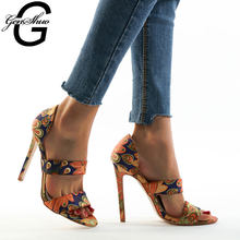 GENSHUO Gladiator Sandals Women High Heels Summer Women's Shoes Casual Ethnic Floral Printing Boho Dress Sandals Chaussure Femme(China)