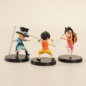 Image 3 - 3 pezzi/set anime artista infanzia Rufy Ace Saab tre fratelli bambola PVC collection modello giocattolo della decorazione della casa regalo di compleanno