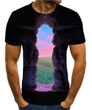 3d novo popular animação paisagem arte criativa design colorido engraçado camiseta para homem manga curta s-6xl estilo de rua