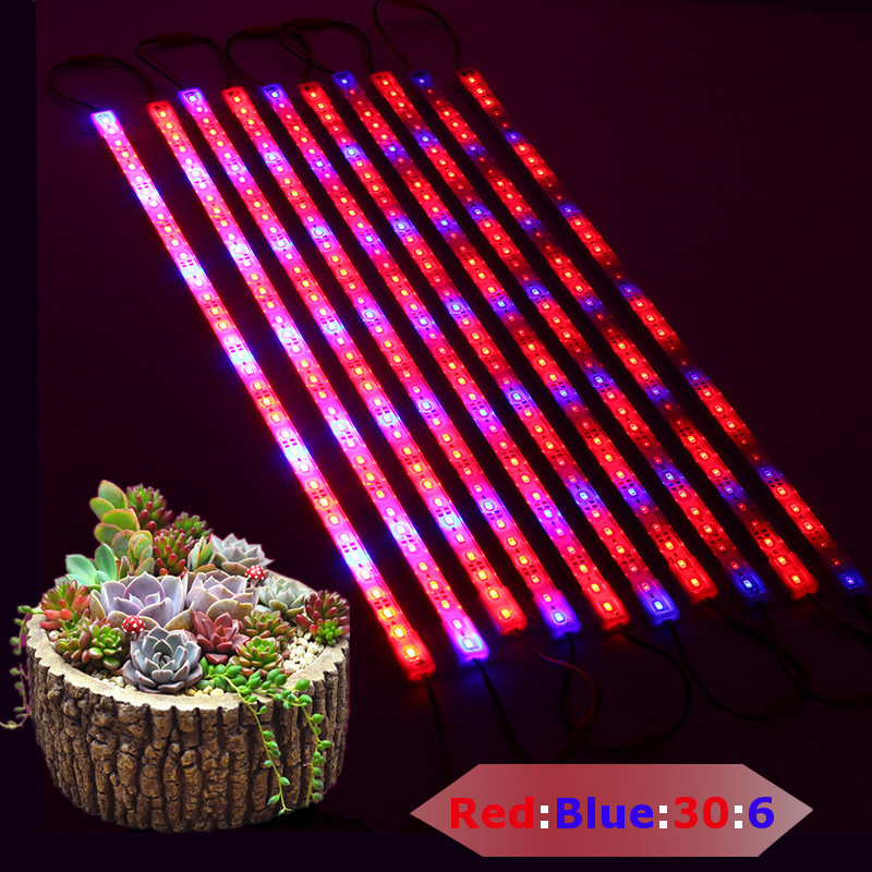10PCS 50CM LED Plant Grow Rigid Strip High Brightness Hydroponic Bar Light Kit SMD5730 Red:Blue 5:1 DC12V IP20/IP65