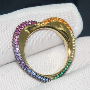 Image 2 - SLJELY High Quality 925 Sterling Silver Gold Color Rainbow Love Heart  Geometric Finger Ring Paved Colorful Zirconia for Women
