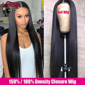 30 Inch 4x4 Closure Wig Straight Lace Front Human Hair Wigs For Women Brazilian Remy Lemoda Full Hair 180 Density Lace Front Wig(China)