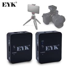 EYK EG02 ميكروفون لاسلكي احترافي UHF Lavalier ، للهواتف الذكية ، وكاميرات DSLR ، وتسجيل مباشر ، و Vlog ، و YouTube ، وبطارية ليثيوم