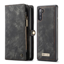 Wallet Case For Galaxy Note10 Note10+ Zipper Magnetic Phone Case Folio Flip Cover for Samsung S10 S9 S8 Plus A50 A70 Note 10 9 8(China)