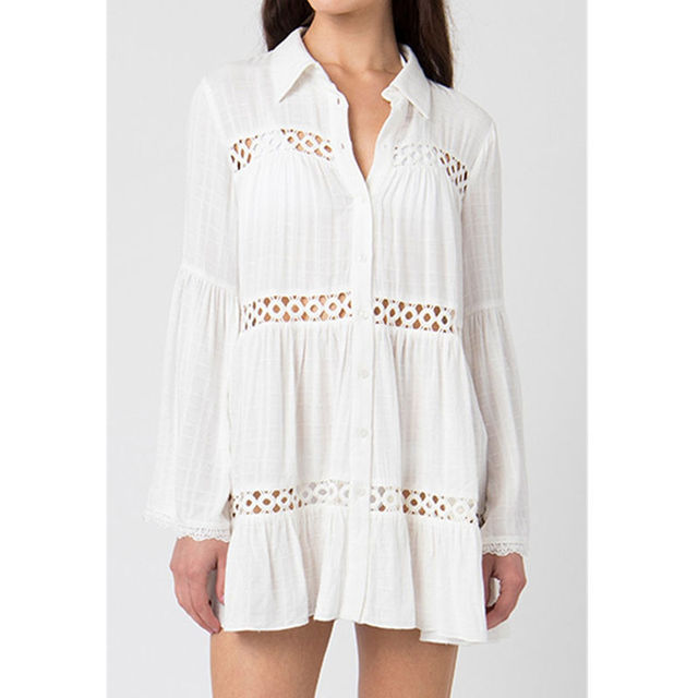 2021 Sexy White Dress Beach Tunic White Casual Simplicity Turn Down Collar Long Sleeve Hollow Out Cotton Summer Mini dress N1048 1