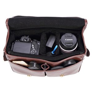 Image 2 - יוקרה מצלמה Case תיק עמיד למים כתף שליח תיק אופנה רטרו עור מפוצל Dslr מקרה גאדג ט תיק עבור sony Canon ניקון