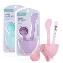 6 pièces bricolage masque bol mélange brosse maquillage outil ensemble 4 In1 beauté soins de la peau avec brosse mixte remuer spatule bâton mesure cuillère Kit