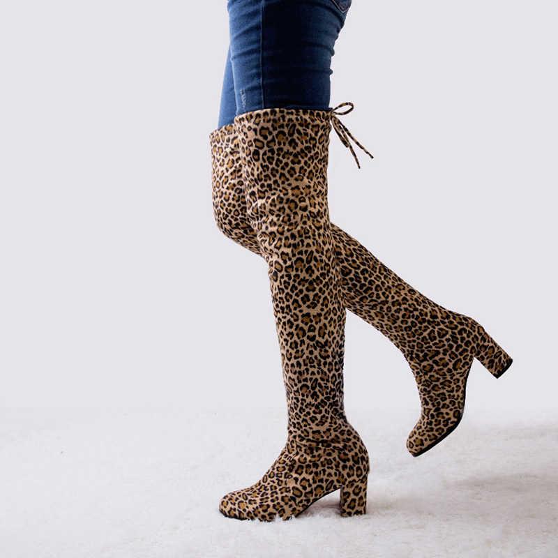LAKESHI seksi uyluk yüksek çizmeler over-the-diz çizmeler kadın yüksek çizmeler uzun çizmeler kadın kış ayakkabı kadın leopar süet yüksek topuklu
