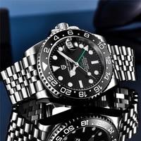 PAGANI DESIGN-relojes mecánicos GMT para hombre, de 40MM, cristal de zafiro, acero inoxidable, deportivo, resistente al agua, automático