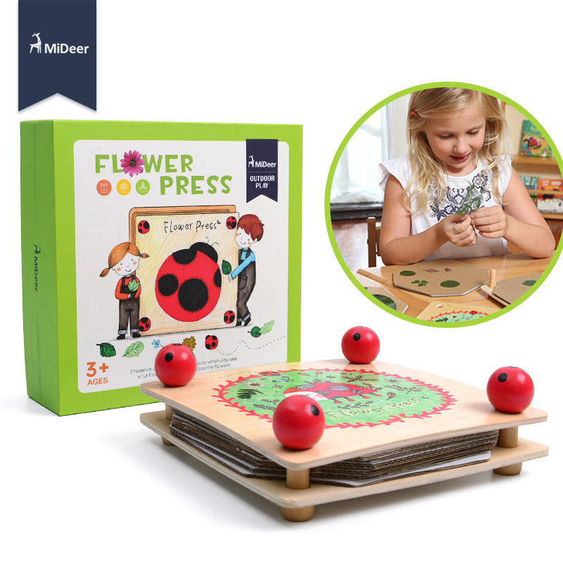MiDeer Kids Flower And Leaf Press Nature Craft Happy Time Wooden Art Kit Outdoor Play Learning Educational Toy For Children Gift