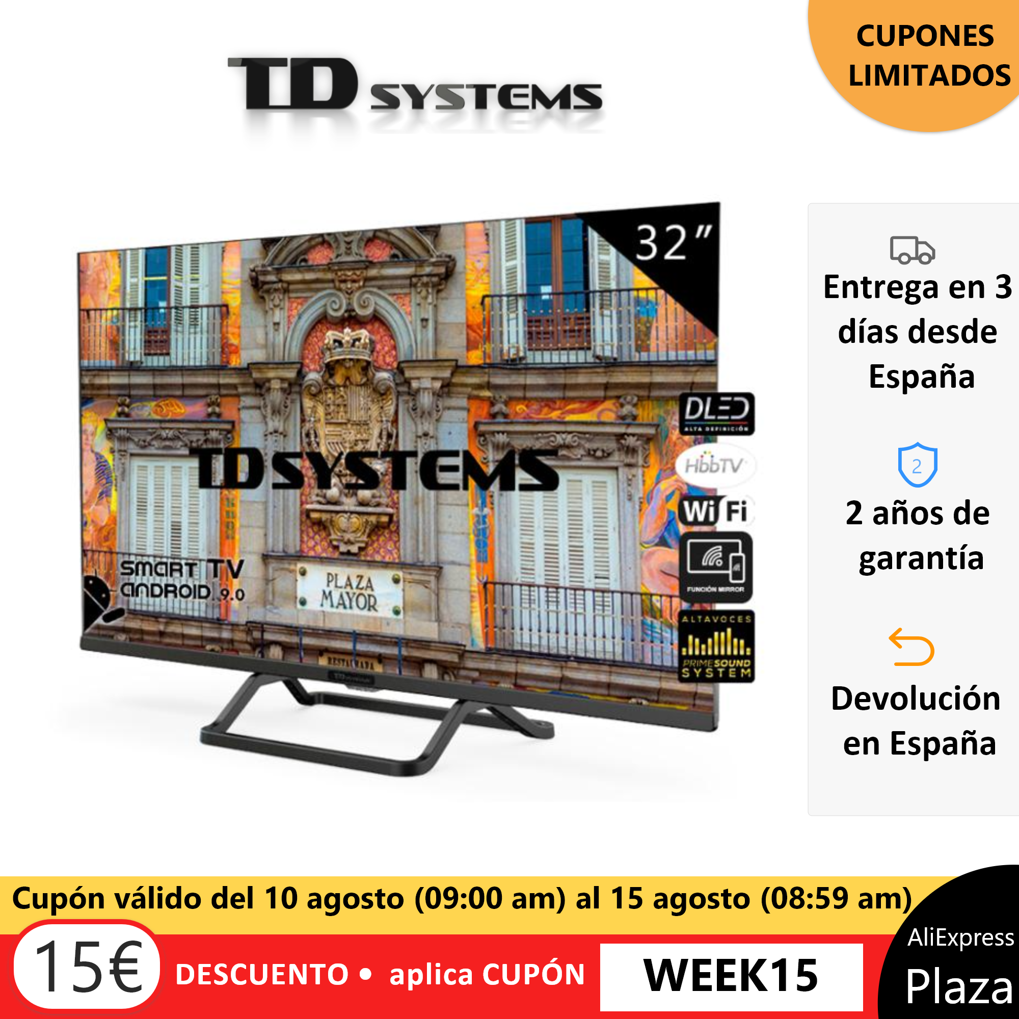 <font><b>Smart</b></font> <font><b>TV</b></font> televisions <font><b>32</b></font> inch TD Systems K32DLX10HS. 3x HDMI, DVB-T2/C/S2, HbbTV [shipping from Spain, 2 year warranty] image